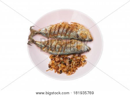 Couple Of Fried Salted Mackerel With Fried Shallot And Chili On Plate, Isolated