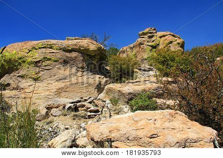 Massai Point rock hoodoos formation in Echo Canyon, Chiricahua National Monument near Wilcox, in southern Arizona, USA.