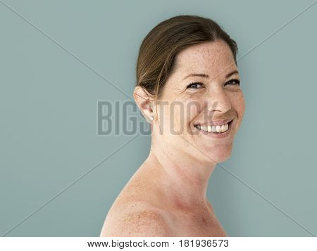 Happiness woman bare chest topless smiling studio portrait