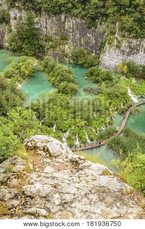 landscape of Plitvice  lake national park unesco heritage site croatia.