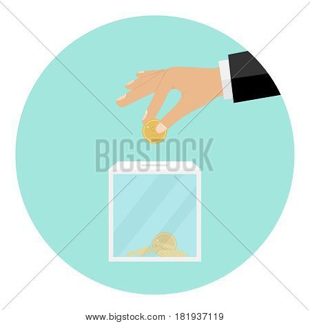 The hand throws a coin into the box for donations. Flat design vector illustration vector.