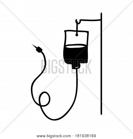 monochrome hand drawn silhouette of hanging bag for blood donation vector illustration