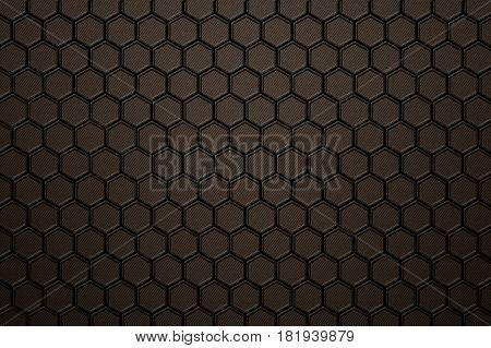 Bronze Carbon Fiber Hexagon Pattern.
