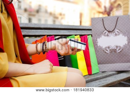Hand holding credit card, shopping successful, shopping