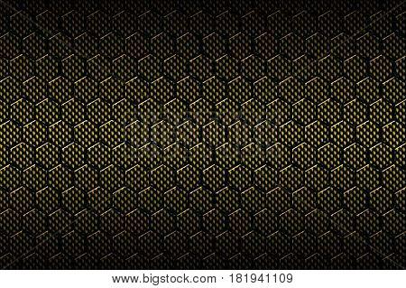 Yellow Carbon Fiber Hexagon Pattern.
