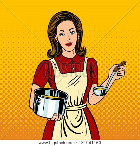 Housewife woman pop art retro vector illustration. Comic book style imitation.