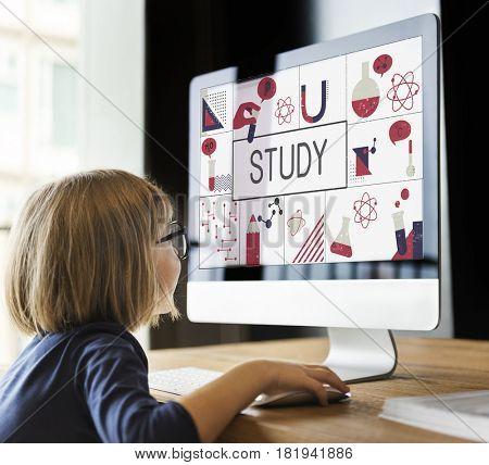 Little girl study biochemistry scietific research