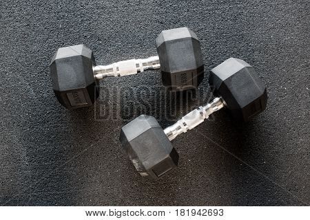 Pair Of Heavy Metal Dumbbells