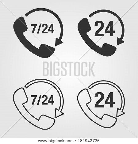 Phone 7/24 icon - vector eps 10