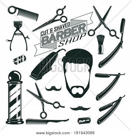 Vintage barbershop elements collection with comb blades pole scissors razors brush shaving machine hipster head isolated vector illustration