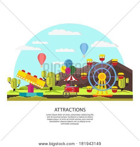 Colorful amusement park template with ferris wheel ice cream booth carousel balloons on nature landscape vector illustration