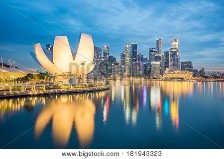 Singapore City Skyline At Night In Singapore City, Singapore