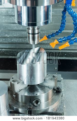 Milling machining center CNCProcessing of metal billet is performed.
