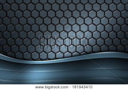 Blue Banner On Gray Carbon Fiber Hexagon.