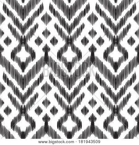 Vector illustration of the black and white colored ikat ornamental seamless pattern. Scribble textured effect. Fashion design in ethnic style.
