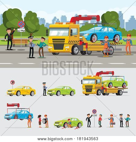 Car evacuation concept with drivers policeman workers and automobile lifting loading towing vector illustration