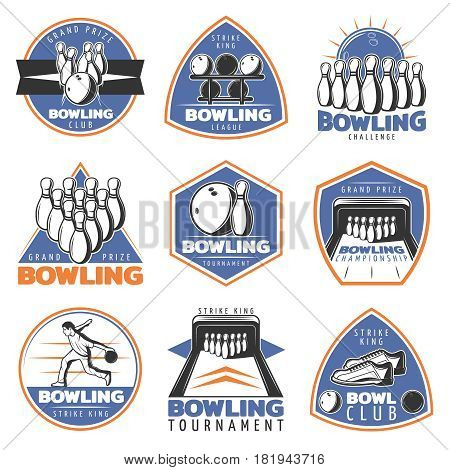 Colorful vintage sport recreation emblems set with bowling pins balls lane player and sneakers isolated vector illustration
