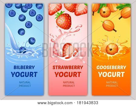 Cartoon natural milky products vertical banners with bilberry strawberry and gooseberry falling into milk splashes vector illustration