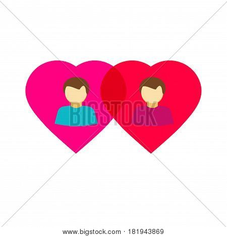 Couple gay in love hearts, flat style homosexual relations symbol concept