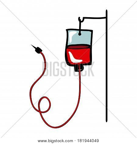 colorful hand drawn silhouette of hanging bag for blood donation vector illustration