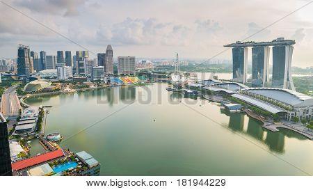 Panorama Of Singapore Skyline In Singapore City, Singapore