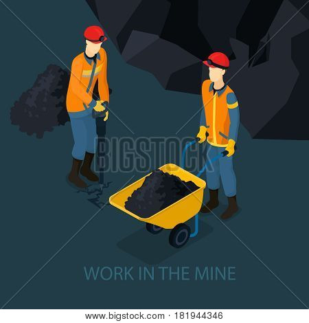 Isometric mine industry concept with miner holding drill and worker transporting coal in trolley vector illustration