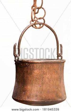 old pot hanging in the kitchen on white background