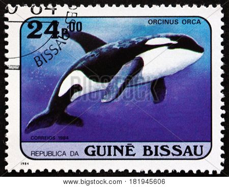 GUINEA-BISSAU - CIRCA 1984: a stamp printed in Guinea-Bissau shows Killer Whale Orcinus Orca Whale circa 1984