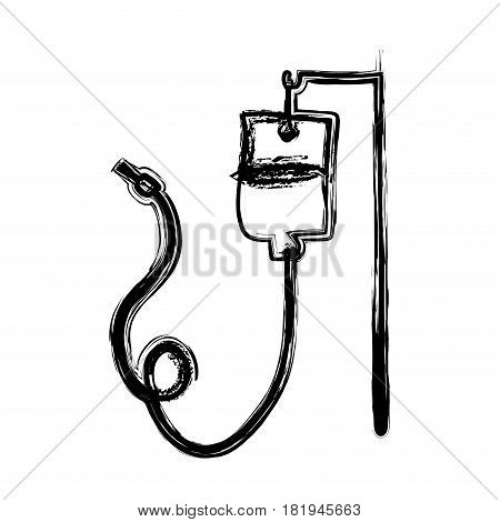 monochrome hand drawn sketch of hanging bag for blood donation vector illustration