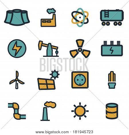 Vector flat energetics icons set on white background