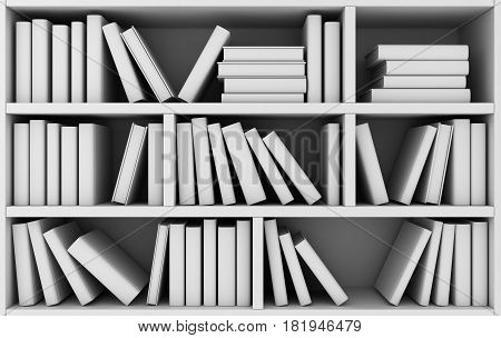 Bookshelf And Many Books