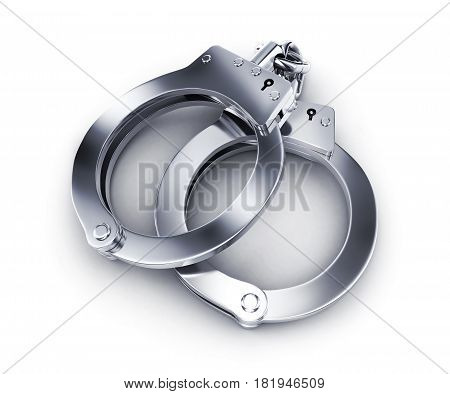 Police handcuffs on white background. 3d illustration