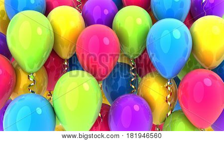 Many balloons multicolored background .3d illustration