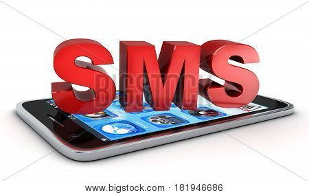 Telephone and Abstract SMS on white background. 3d illustration