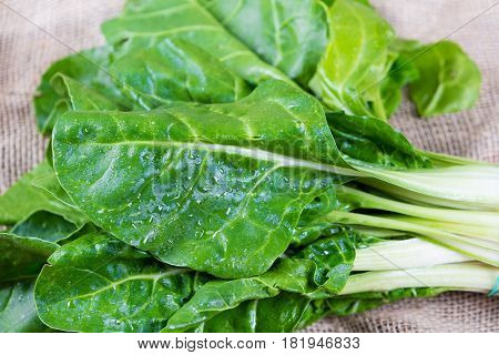 Bunch of green chard on a table