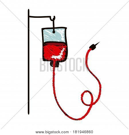 hand drawn silhouette with colored pencil of hanging bag for blood donation vector illustration