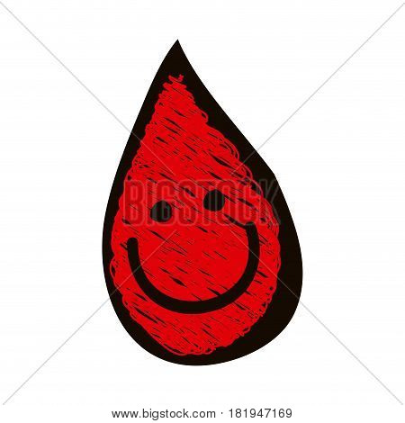 hand drawn silhouette with colored pencil of blood drop icon vector illustration