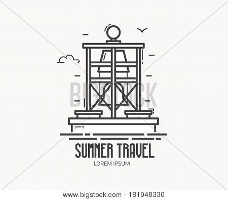 Summer travel agency logo or label template with marine lateral mark in linear style. Floating bell buoy logotype in thin line design. Sea navigation marker outline icon.