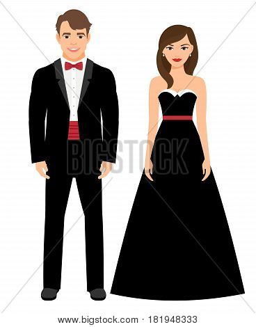 Official evening clothes fashion couple. Man in black tux and woman in long black dress vector illustration