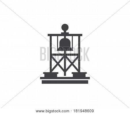 Maritime lateral mark silhouette vector illustration. Floating sea buoy icon. Maritine navigation marker logo or label template.