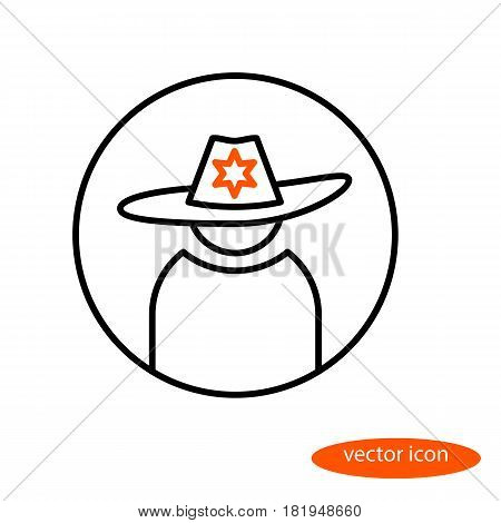 Vector linear representation of power representative in a hat with a badge a flat line icon.