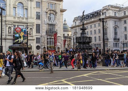 LONDON, GREAT BRITAIN - SEPTEMBER 21, 2014: Piccadilly Circus is a famous square in the city center.