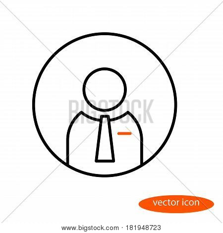 Vector linear image of a business man in a tie flat line icon.