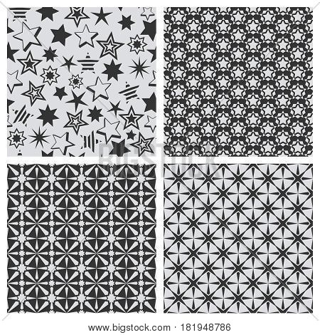 Star abstract seamless pattern texture set. Black stars on white background for prints. Vector repeat starry backdrop