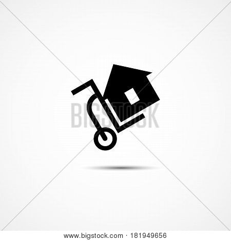 Template for logo label emblem sign for delivery transportation service company with dolly and house. Vector illustration.