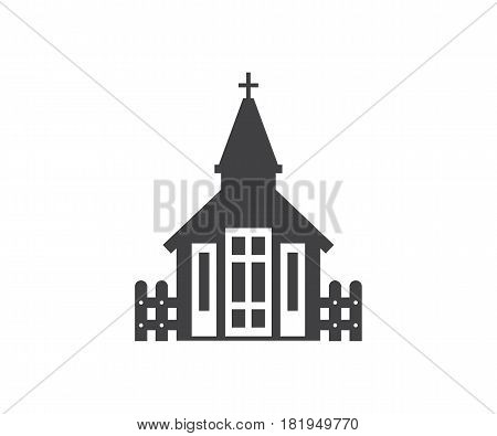 Fence and church icon. Small temple logo or label template in linear style. Nordic chapel logotype. Traditional kirk vector illustration.