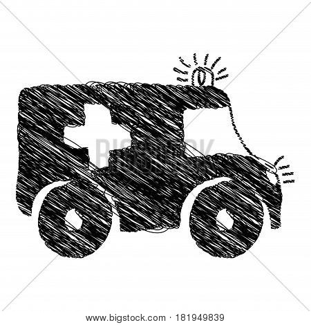 silhouette drawing ambulance emergency vehicle icon vector illustration