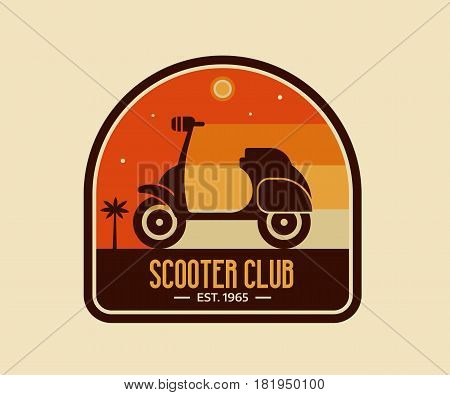 Scooter club badge or logo template. Pin with scooter on beach. Small motorcycle or moped riding on tropical background in retro style. Motorbike logotype or label vector illustration.