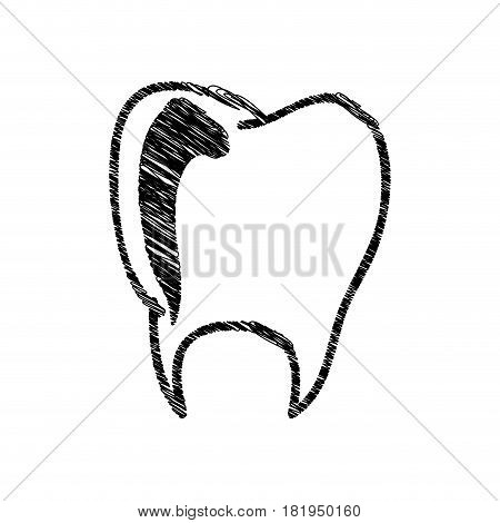 silhouette drawing tooth dental icon vector illustration