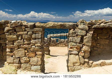 Ancient Inca ruins above the Lake Titicaca Bolivia